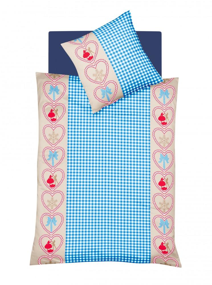 fleuresse biber bettw sche 135x200cm 2 tlg davos herzen blau rot wei rv ko ebay. Black Bedroom Furniture Sets. Home Design Ideas