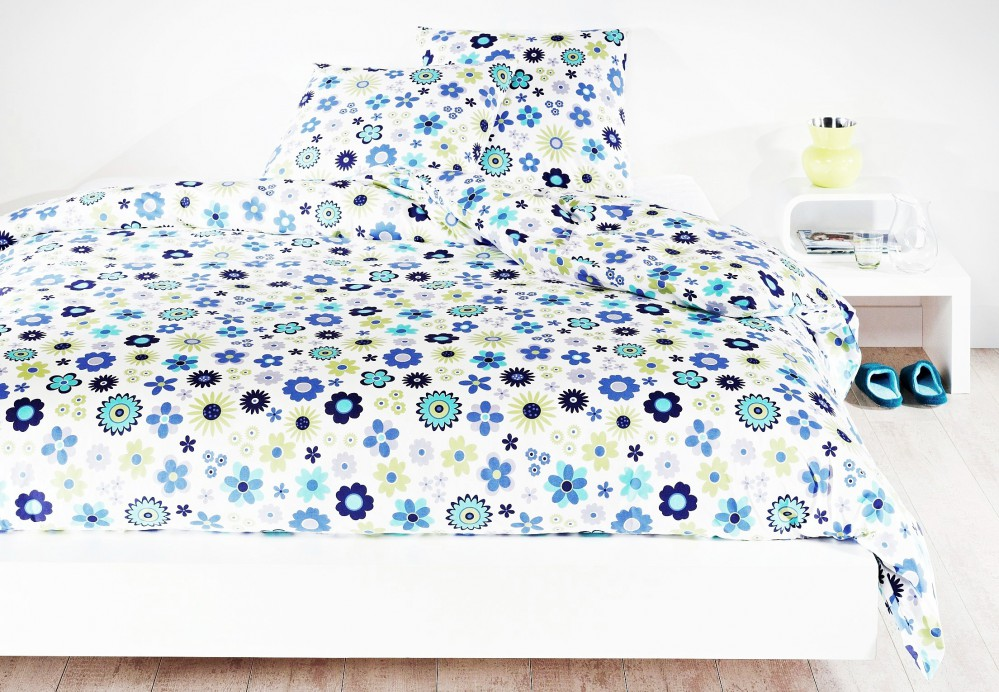 mistral home renforce bettw sche blumen blau t rkis 200x200cm baumwolle 3 tlg ebay. Black Bedroom Furniture Sets. Home Design Ideas