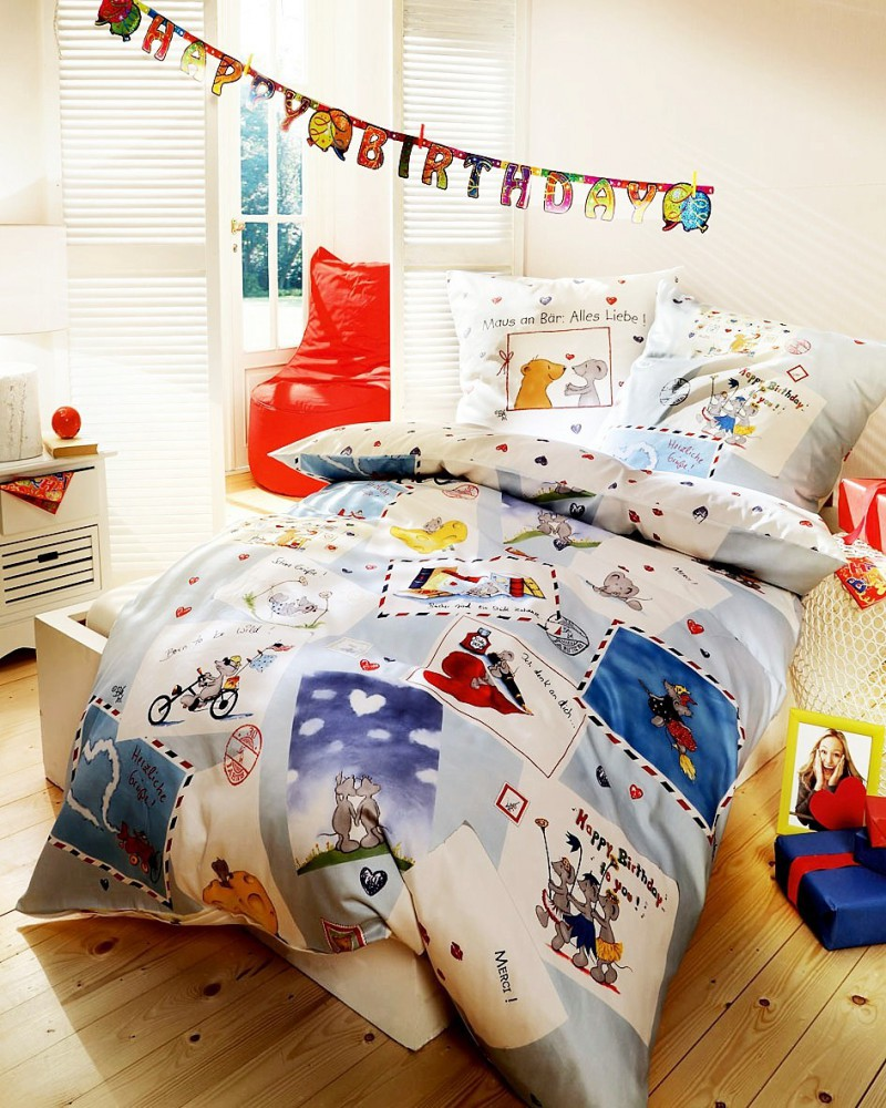 kaeppel biber kinder bettw sche happy birthday 135x200cm bettw sche bettw sche 135x200cm. Black Bedroom Furniture Sets. Home Design Ideas
