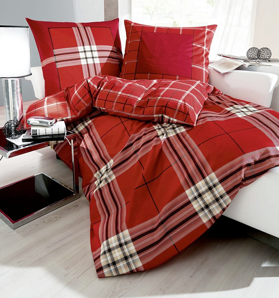 kaeppel biber bettw sche glencheck chili rot karos 200x200cm 3 tlg ko tex ebay. Black Bedroom Furniture Sets. Home Design Ideas