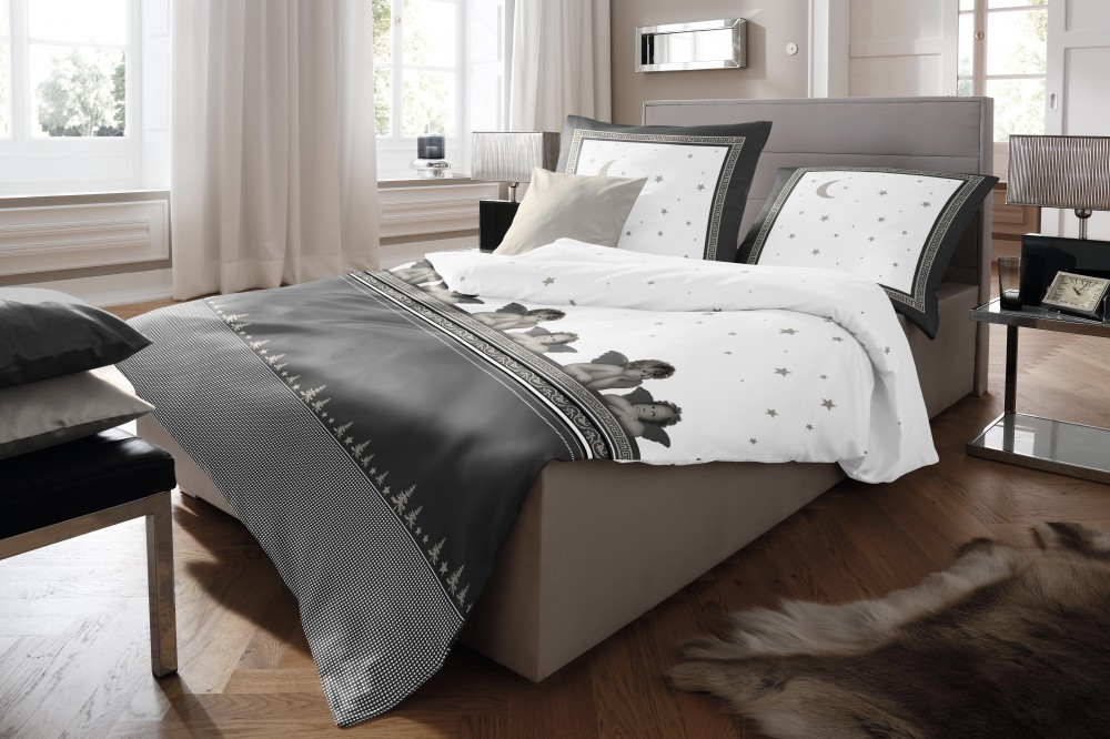 fleuresse biber bettw sche 2 tlg raphael engel sterne mond grau wei bettw sche bettw sche. Black Bedroom Furniture Sets. Home Design Ideas