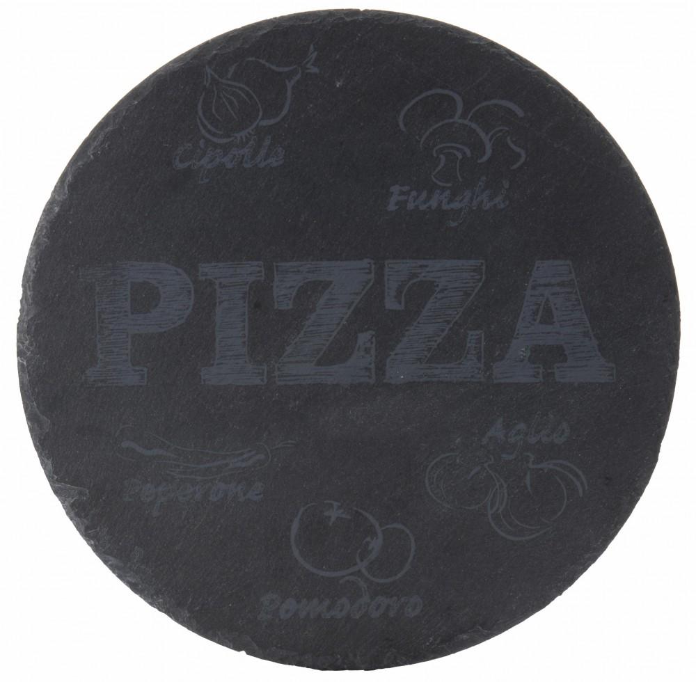 Schiefer pizza platte o 30cm servierplatte inkl edelstahl for Schiefer platte
