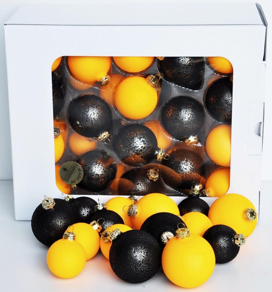 Jack 59x glas christbaumkugeln 4 5 6 7 cm hell neon orange schwarz kugeln box ebay - Weihnachtsbaumkugeln schwarz ...