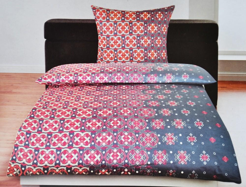 satin bettw sche 100 baumwolle ornamente rot grau creme rei vers ko tex ebay. Black Bedroom Furniture Sets. Home Design Ideas