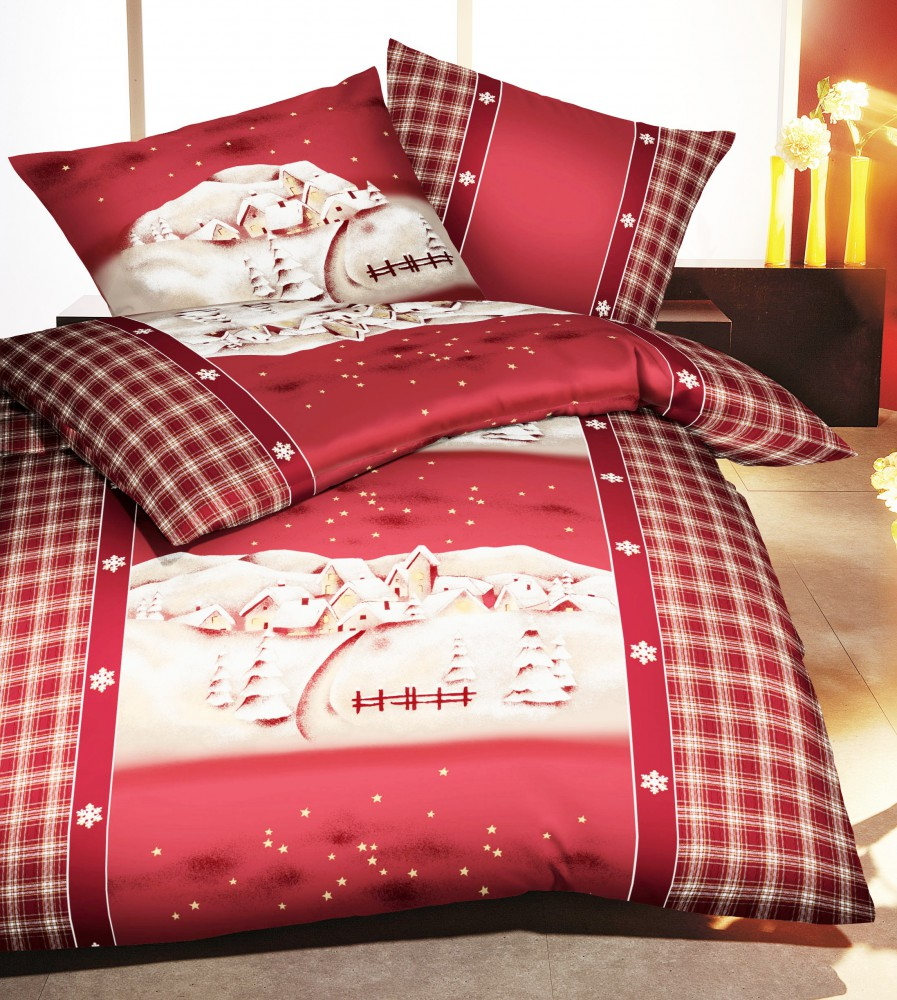 kaeppel biber bettw sche winterdreams winter weihnachten dorf rot wei bettw sche bettw sche. Black Bedroom Furniture Sets. Home Design Ideas