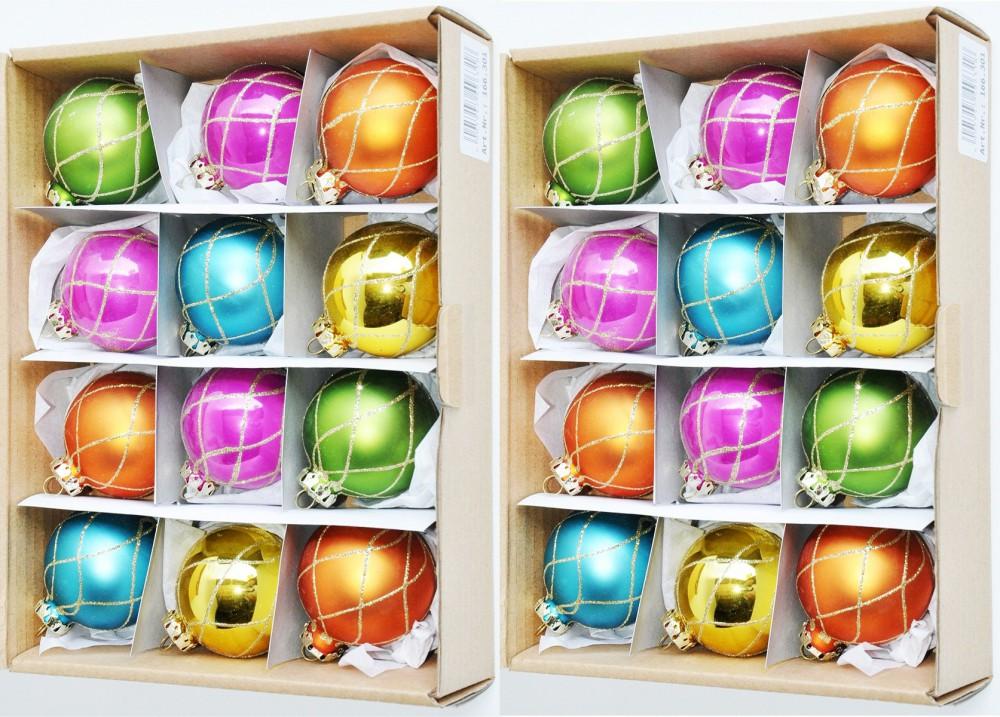24 r dentaler glas christbaumkugeln 6cm bunt glitzer matt glanz weihnachtskugeln ebay. Black Bedroom Furniture Sets. Home Design Ideas