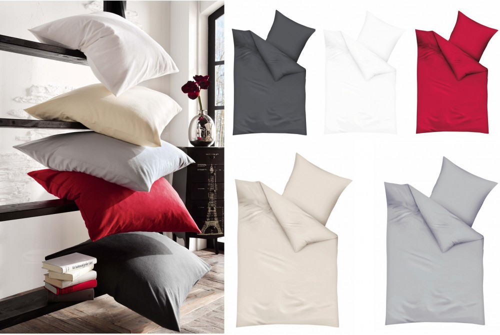 kaeppel biber bettw sche uni 155x220cm rot silber wei anthrazit creme bettw sche bettw sche. Black Bedroom Furniture Sets. Home Design Ideas